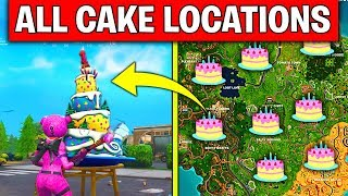 FORTNITE BIRTHDAY CHALLENGES GUIDE! – DANCE IN FRONT OF DIFFERENT BIRTHDAY CAKES LOCATION