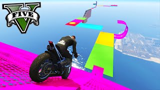 gta v online stunts de moto com as megas rampas 133