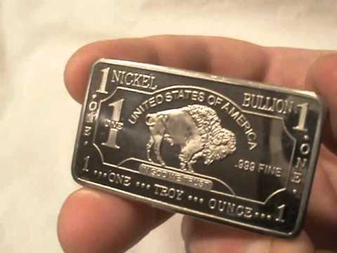 .999 fine nickel bullion bar