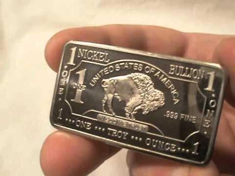 .999 fine nickel bullion bar
