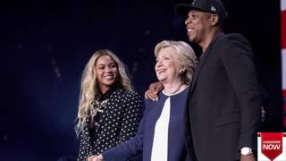 Beyonce & Jay Z Passionately Kiss On Stage At Hillary Clinton Concert