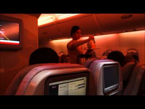 Emirates Airlines A380 Dubai to London Flight EK007 Economy Class 2014