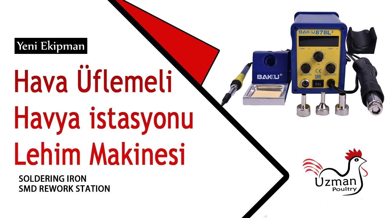 Hava üflemeli havya istasyonu BAKU 878 L 2 Türkiyede ilk videosu. SMD Rework station soldering iron