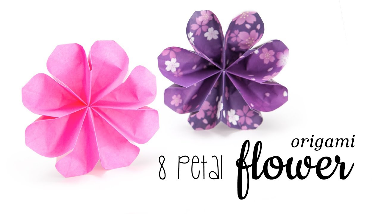 Easy Origami Flower Tutorial 8 Petals Paper Kawaii Youtube