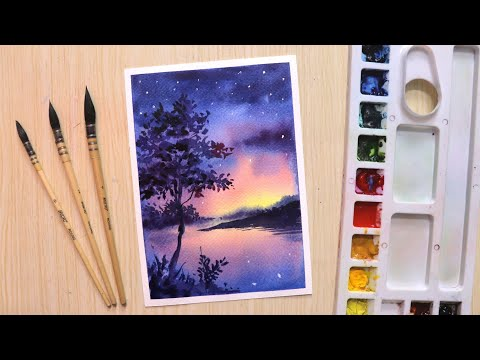 Watercolor painting for beginners beautiful night sky