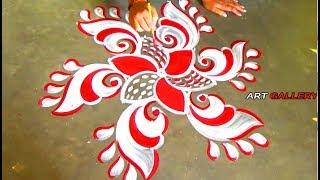 Pooja Room decoration idea Red white Innovative Rangoli/Alpana designs by 5 x 3 dots