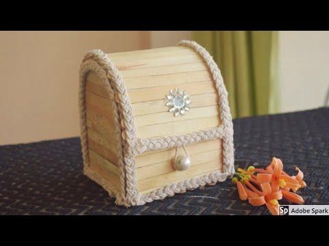 DIY Jewellery Box made from Popsicle Sticks | DiyJewellery Box | Pop Stick Crafts | parulpawar