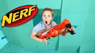 Nerf Box Fort Challenge vs Dad!