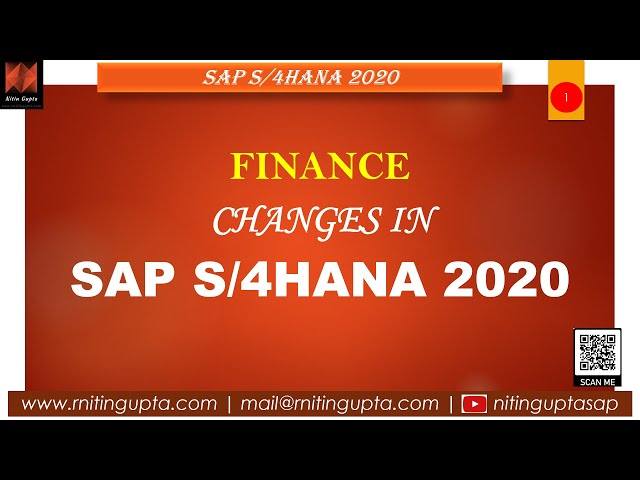SAP S/4HANA 2020 - changes introduced in Finance