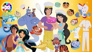 Paper Dolls Princess Jasmine and Aladdin dress up like Pastry Chef Handmade dolls craft