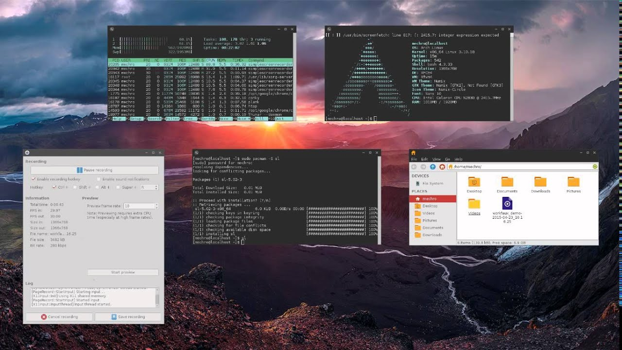 Arch Linux XFCE Touchscreen Demo