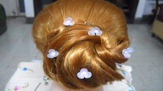 Hair Style Tutorial. How to make a Hair Bun with Horse Tail Braid