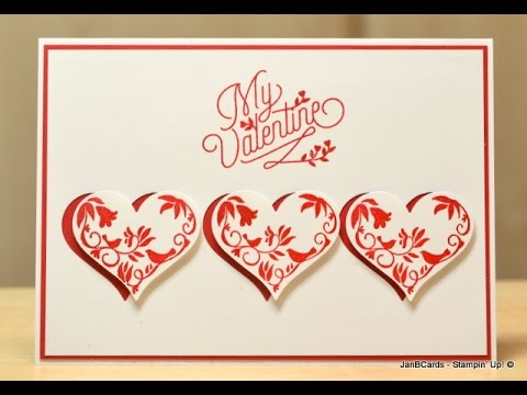 No142 Three Hearts Valentine Card JanB UK Stampin Up – Valentines Cards Uk