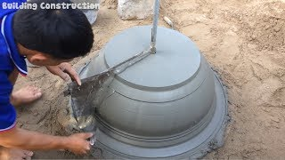 Primitive Construction Technology | Build Concrete Pot Extreme Simple