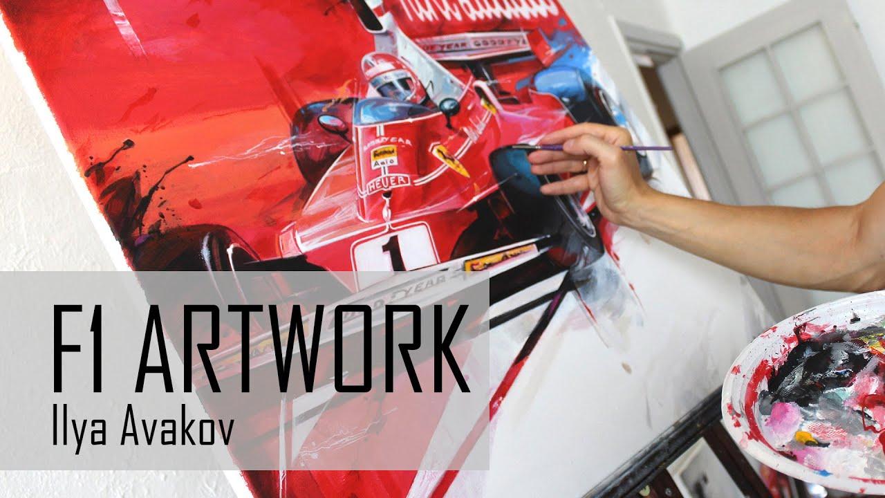 Formula one, Scuderia Ferrari , Car Art, f1 триптих Формула Феррари.
