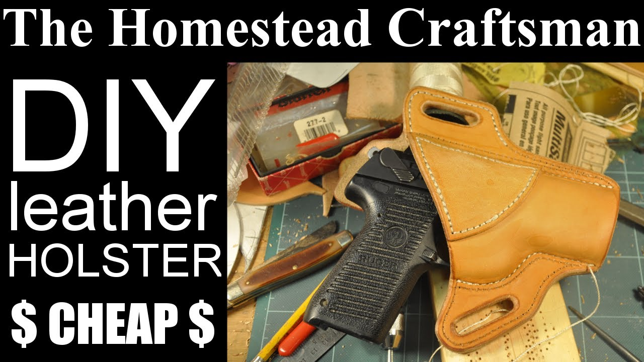 Homemade Leather Gun Holster and Mag Pouch - YouTube