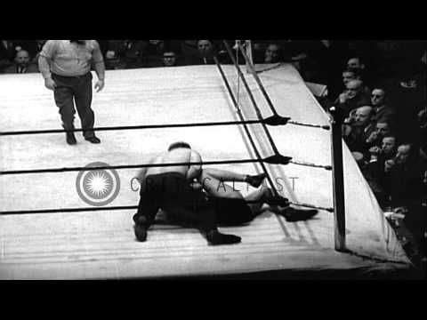 A wrestling bout at Hippodrome Theater in New York, United States. HD Stock Footage