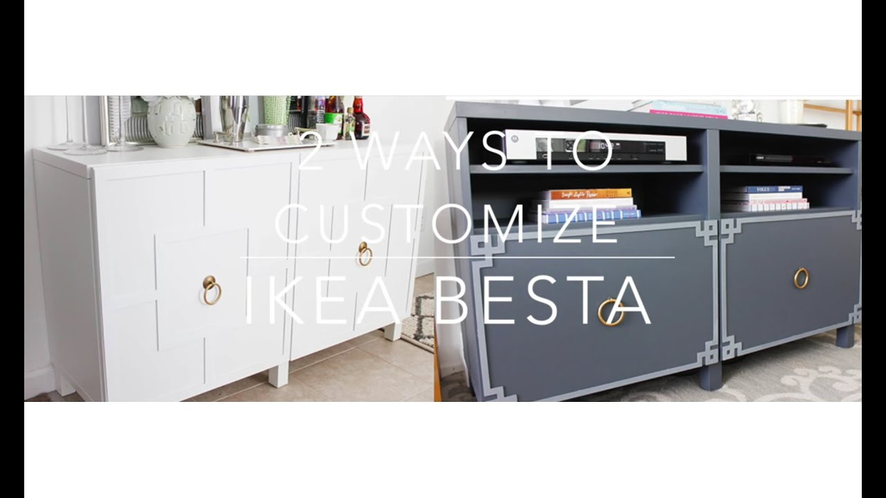 ikea hack: besta cabinet two ways - youtube
