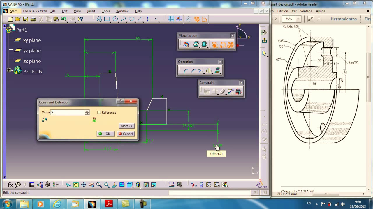 Catia V5 Revolute Hole Drafting And Offset Section View