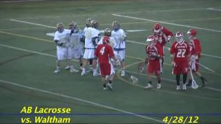 Acton Boxborough Varsity Lacrosse vs Waltham 4/28/12