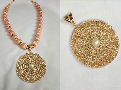 DIY!!!Silk thread necklace making tutorial