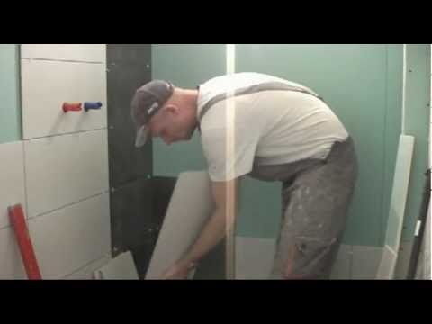 видео: Укладка плитки на гипсокартон в ванной  www.odesremont.od.ua