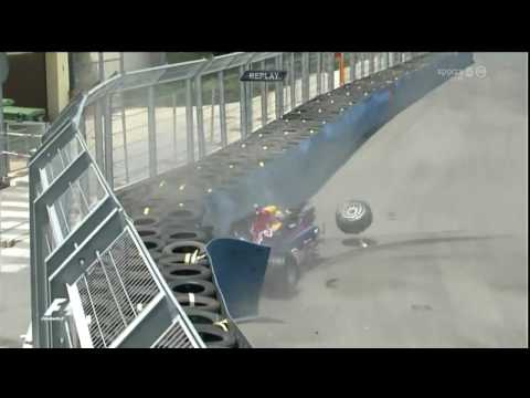 F1-Mark Webber crash very spectaculary on the GP of Europe 2010 in Valencia