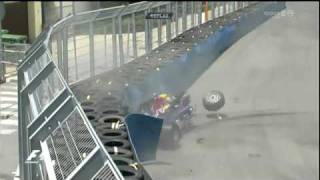F1 Mark Webber Crash Very Spectaculary On The GP Of Europe 2010 In Valencia