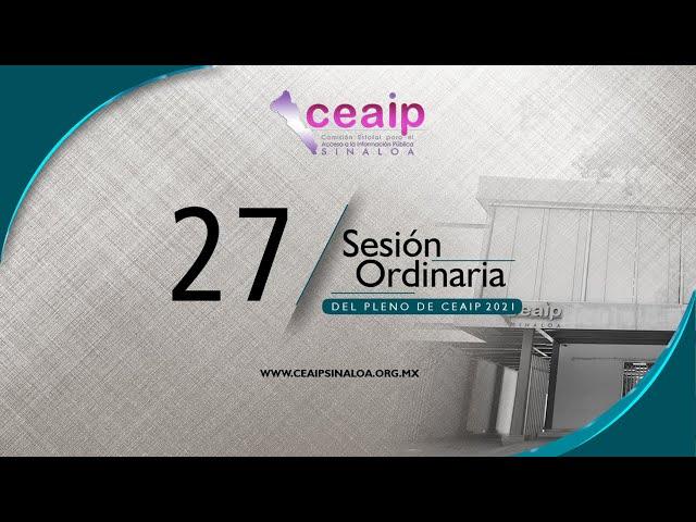 Sesión Ordinaria de Pleno No. 27/2021