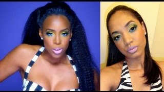MAKEUP TUTORIAL | Kelly Rowland - Kisses Down Low - Bright Yellow & Green Look