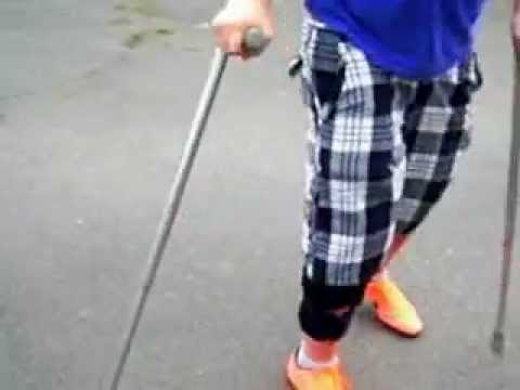 crazy kid on crutches lol youtube