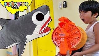 Giant Shark Plush attack NERF WAR!