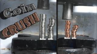 Coins Crushed by Hydraulic Press| Coin Explosion