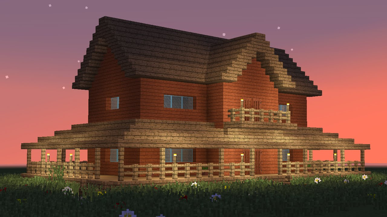 Minecraft  How To Build Big Wooden House  5