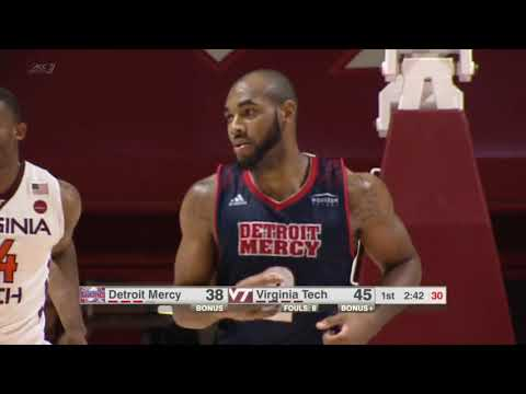 Detroit Mercy Men's Basketball Highlights at Virginia Tech