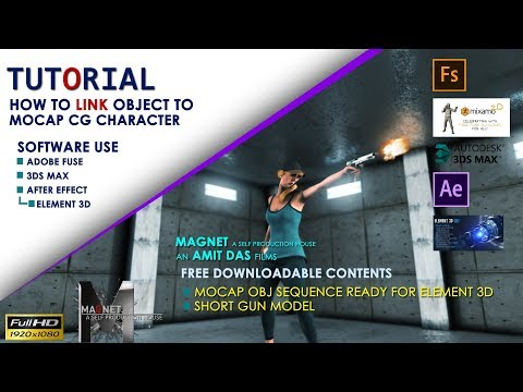 Tutorial How to link object to mocap CGI character II Element 3D II 3Ds Max II After Effect