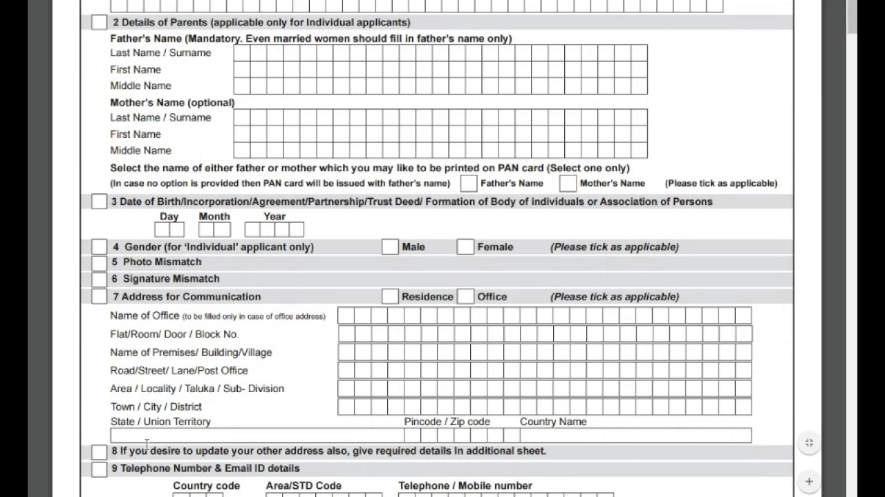 Pan Card Form Pdf