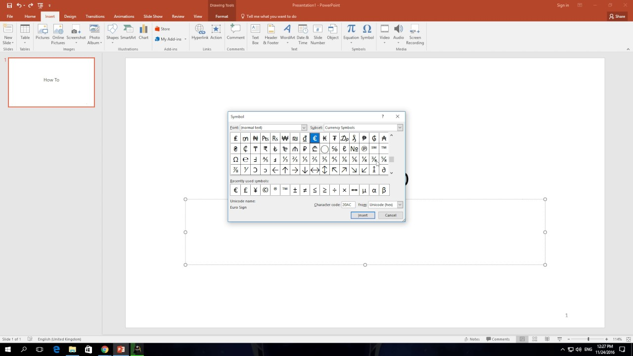 How To Insert Symbol In PowerPoint 365