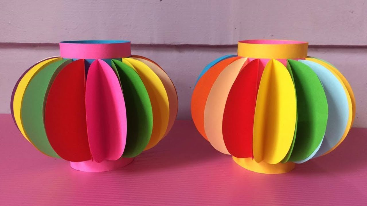 How To Make Lantern With Color Paper Diy Fancy Paper Lantern
