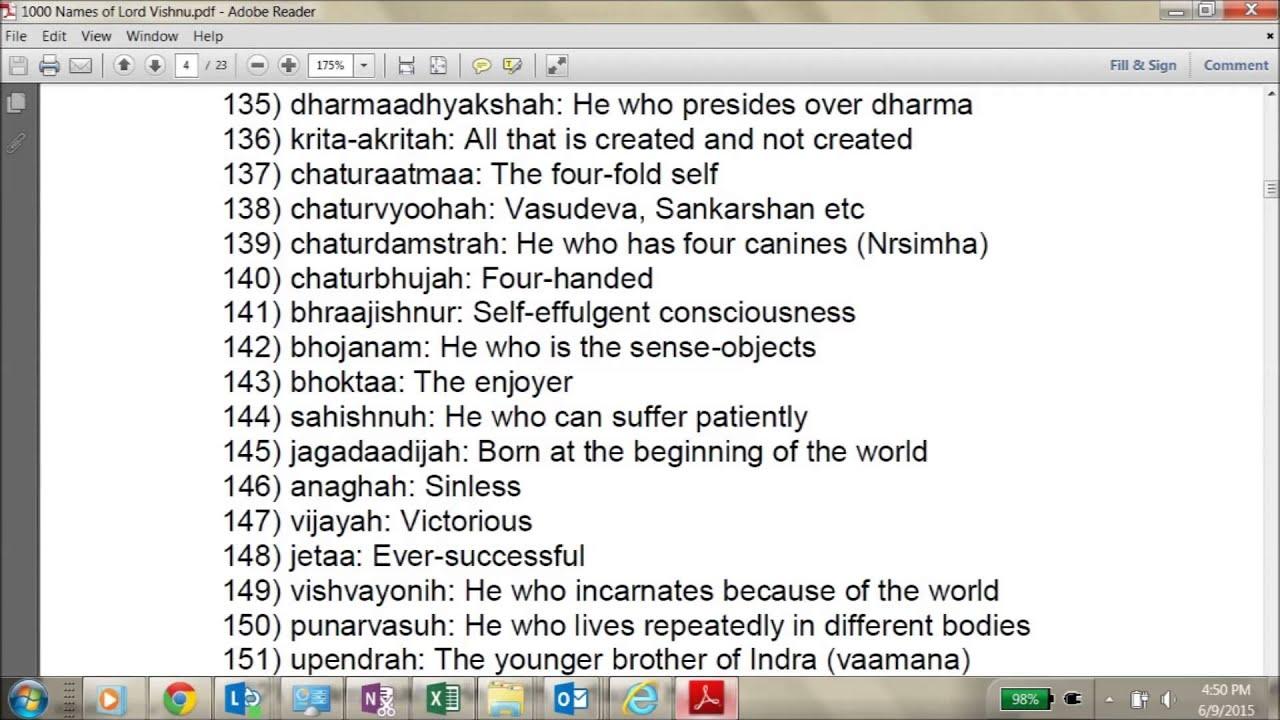 Vishnu Sahasranamam Meaning In Telugu Pdf