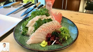 Red Big Eye Snapper Sashimi | Clean, Slice, Plate