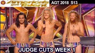 Jack Tenney  Jumps into a Trampoline Full Flashlights  America's Got Talent 2018 Judge Cuts 1 AGT