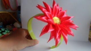 Хризантема Канзаши Мастер класс  ободок/ chrysanthemum kanzashi(Алина Болобан покажет вам свой мастер класс Канзаши - Как сделать ободок с цветком хризaнтемы канзаши Вам..., 2013-07-26T11:54:55.000Z)
