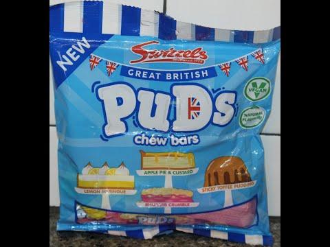 Swizzels Great British Puds Chew Bars: Lemon Meringue, Apple Pie & Custard, Rhubarb, Sticky Toffee