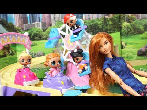 Barbie Doll LOL Family Routine in The Amusement Park , Pool Party & Ice Cream Shop