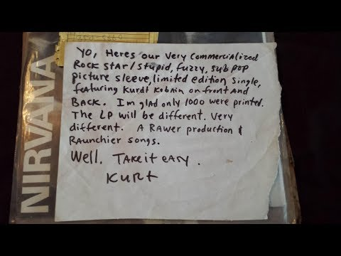 A note Kurt Cobain sent to me with the first Nirvana 7