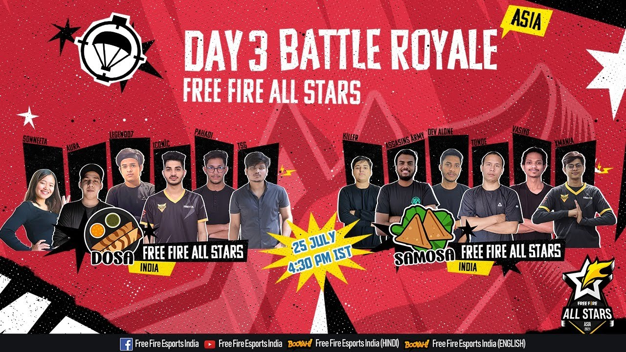 Team Samosa NayanAsin Playing Free Fire All Stars Asia With Team Samosa | Day 3 - Battle Royale
