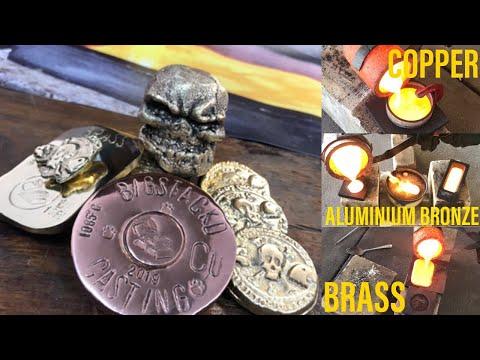 Triple Metal Melt Copper Brass Aluminium Bronze Skull Coins & Bar - Metal Melting Asmr