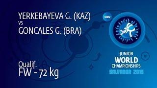 Qual. FW - 72 Kg: G. YERKEBAYEVA (KAZ) Df. G. GONCALES (BRA) By FALL, 10-0