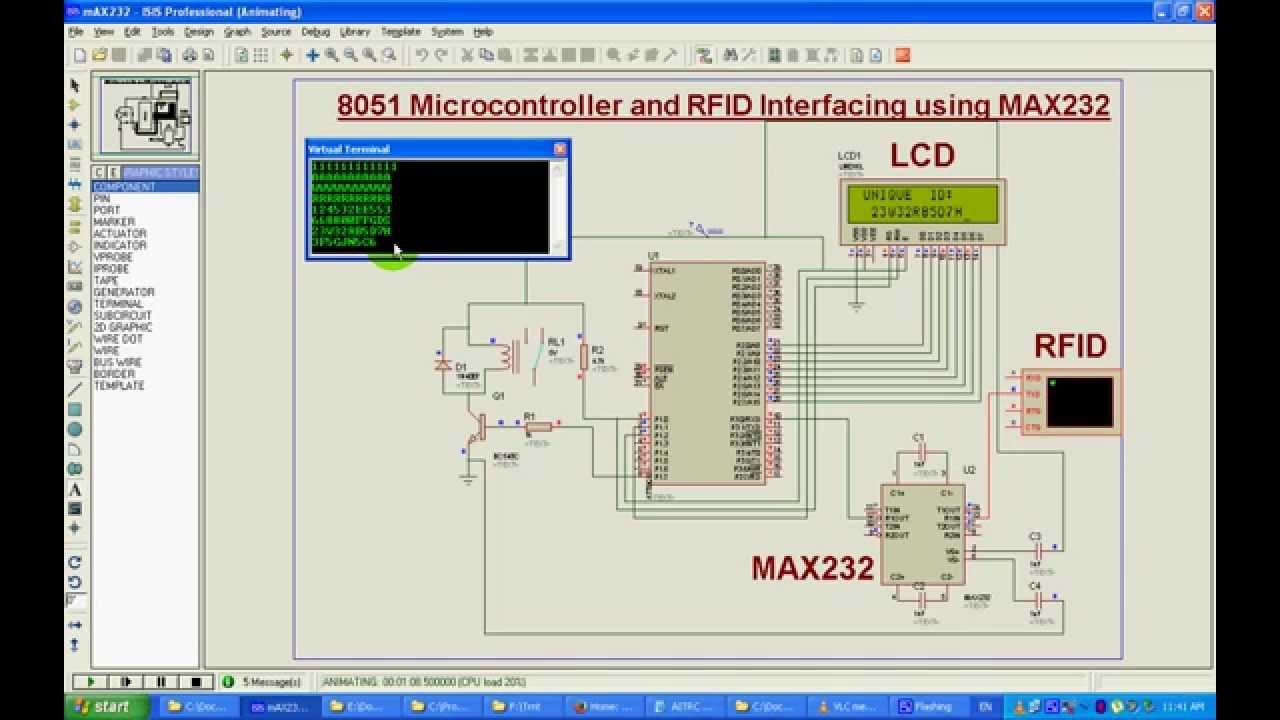 8051 Microcontroller And Rfid Interfacing Using Max232 Youtube Pin Diagram